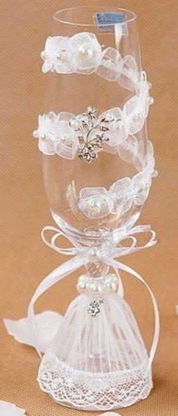 Украшаем свадебные бокалы для жениха и невесты своими руками фото 277